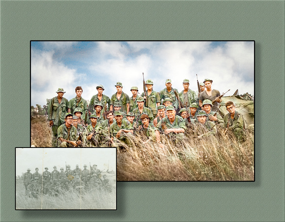 Viet Nam photo restored and colorized from snapshot that was cracked, faded, and stained. possible